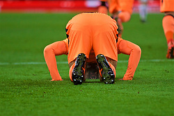 STOKE-ON-TRENT, ENGLAND - Wednesday, November 29, 2017: Liverpool's Mohamed Salah prays as he celebrates scoring the third goal during the FA Premier League match between Stoke City and Liverpool at the  Bet365 Stadium. (Pic by David Rawcliffe/Propaganda)