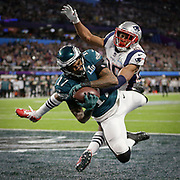 Philadelphia Eagles wide receiver Alshon Jeffery (17) scores in front of New England Patriots cornerback Eric Rowe (25) as the New England Patriots played the Philadelphia Eagles in Super Bowl XLII in Minneapolis,MN, Sunday, Feb. 4, 2018. (Photo by AJ Mast / For the New York Times)