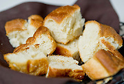 A basket of focaccia bread at Vetro 1925 Ristorante in Fayetteville, Arkansas.