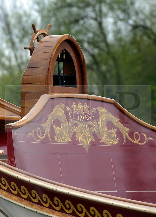 © Licensed to London News Pictures. 19/04/2012. London, UK .Detail of a seat at the rear of the barge. The Royal barge Gloriana is prepared for lowering into the River Thames today for the first time. Gloriana was designed to resemble vessels in Canaletto's famous painting of an 18th century river pageant on the Thames Gloriana will be rowed by eighteen oarsmen, including Britain's Olympian Sir Steven Redgrave. It will lead a pageant of more than 1,000 boats will sail down the Thames on June 3 to mark the 60th anniversary of Her Majesty's reign . Photo credit : Stephen Simpson/LNP