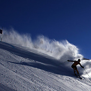 A skier in action during the Women's Giant Slalom competition at Coronet Peak, New Zealand during the Winter Games. Queenstown, New Zealand, 23rd August 2011. Photo Tim Clayton