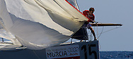 Tau Ceramica-Andalucia approaches the leeward mark during the practice race of the AUDI Medcup in Cartagena