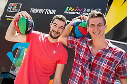 Luka Babic and Tomislav Zubcic at FIBA Basketball World Cup Spain 2014 Trophy Tour, on June 22, 2014 in Ban Jelacic Square, Zagreb, Croatia. Photo By Vid Ponikvar / Sportida