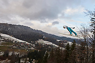 Poland, Wisla Malinka - 2017 November 19: Andreas Schuler from Switzerland soars through the air while Men's Individual HS134 competition during FIS Ski Jumping World Cup Wisla 2017/2018 - Day 3 at jumping hill of Adam Malysz on November 19, 2017 in Wisla Malinka, Poland.<br /> <br /> Mandatory credit:<br /> Photo by © Adam Nurkiewicz<br /> <br /> Adam Nurkiewicz declares that he has no rights to the image of people at the photographs of his authorship.<br /> <br /> Picture also available in RAW (NEF) or TIFF format on special request.<br /> <br /> Any editorial, commercial or promotional use requires written permission from the author of image.