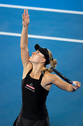 January 10, 2019 - Sydney, NSW, U.S. - SYDNEY, AUSTRALIA - JANUARY 10: Angelique Kerber (GER) serves at The Sydney International Tennis in the match between Angelique Kerber (GER) and Petra Kvitova (CZE) on January 10, 2018, at Sydney Olympic Park Tennis Centre in Homebush, Australia. (Photo by Speed Media/Icon Sportswire) (Credit Image: © Steven Markham/Icon SMI via ZUMA Press)