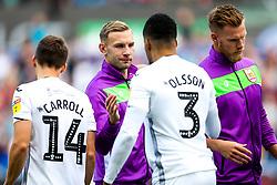 Andreas Weimann of Bristol City greets Martin Olsson of Swansea City - Rogan/JMP - 25/08/2018 - Liberty Stadium - Swansea, Wales - Swansea City v Bristol City - Sky Bet Championship.