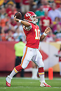 KANSAS CITY, MO - AUGUST 29:  Chase Daniel #10 of the Kansas City Chiefs throws a pass during the last preseason game against the Green Bay Packers at Arrowhead Stadium on August 29, 2013 in Kansas CIty, Missouri.  (Photo by Wesley Hitt/Getty Images) *** Local Caption *** Chase Daniel