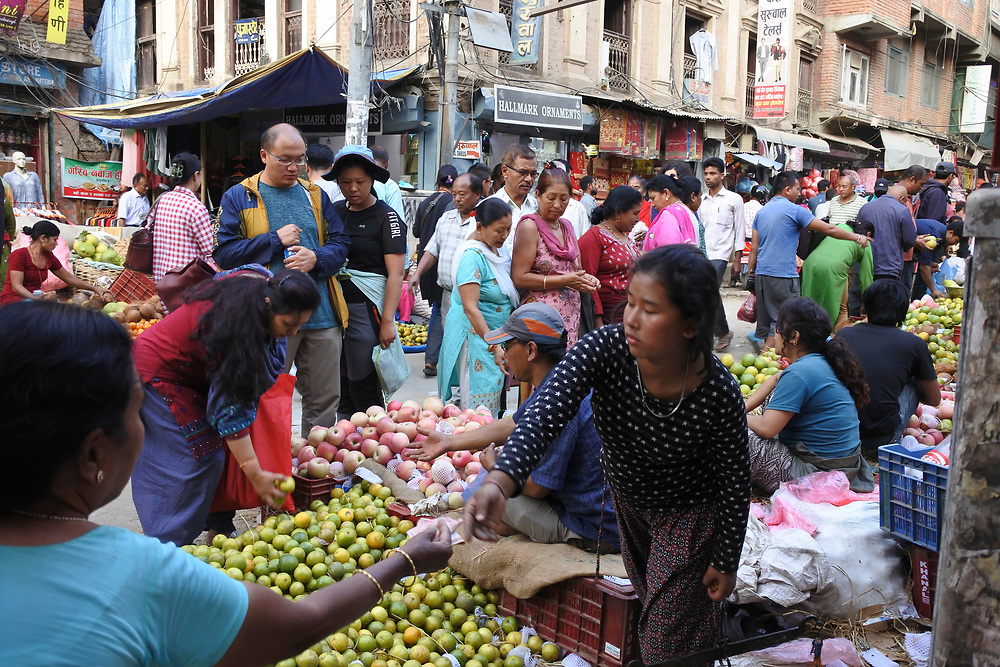 Fruit and veg for sale, in the market place in Kathmandu, Nepal
