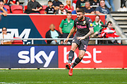 Stuart Dallas of Leeds United (15) takes a shot during the EFL Sky Bet Championship match between Bristol City and Leeds United at Ashton Gate, Bristol, England on 4 August 2019.