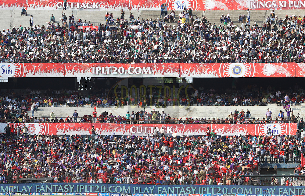 Crowd during match 34 of the Pepsi Indian Premier League Season 2014 between the Kings XI Punjab and the Kolkata Knight Riders held at the Barabati Stadium, Cuttack, India on the 11th May  2014<br /> <br /> Photo by Arjun Panwar / IPL / SPORTZPICS<br /> <br /> <br /> <br /> Image use subject to terms and conditions which can be found here:  http://sportzpics.photoshelter.com/gallery/Pepsi-IPL-Image-terms-and-conditions/G00004VW1IVJ.gB0/C0000TScjhBM6ikg