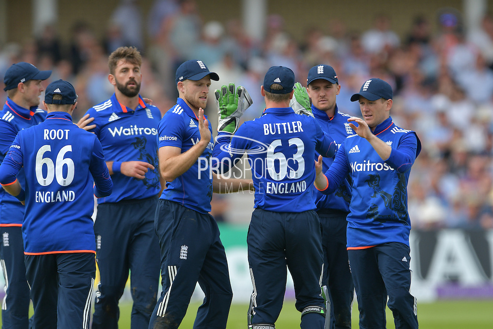 England celebrate the wicket of Upul Tharanga of Sri Lanka (not shown) caught by Jos Buttler of England of Liam Plunkett of England during the Royal London ODI match between England and Sri Lanka at Trent Bridge, West Bridgford, United Kingdom on 21 June 2016. Photo by Simon Trafford.