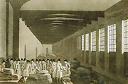 Interior of the Cloth Hall, Leeds, one of the great centres for the sale of woollen cloth  Merchants bargaining over bolts/pieces or fabric. From George Walker 'The Costume of Yorkshire' Leeds 1814. Aquatint