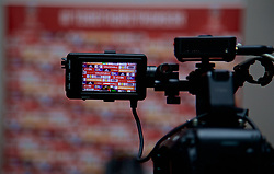 CARDIFF, WALES - Thursday, March 16, 2017: A television camera is set-up for a press conference at the Vale Resort as Wales manager Chris Coleman is set to announce his squad for the forthcoming 2018 FIFA World Cup Qualifying Group D match against Republic of Ireland. (Pic by David Rawcliffe/Propaganda)