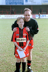 MASCOT WITH DALE WATKINS, Kettering Town v Bishop Auckland FA Trophy Rockingham Road 11th March 2000