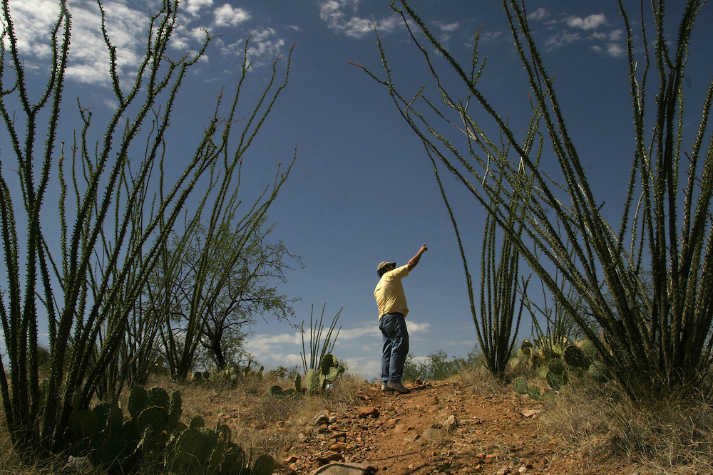 Doug Ruopp, 52, a volunteer with the Samaritans humanitarian organization, patrols the Arizona desert looking for undocumented immigrants in need of help near Tucson, AZ on Wednesday July 12, 2006.