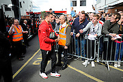 Liverpool midfielder James Milner arriving before the Barclays Premier League match between Bournemouth and Liverpool at the Goldsands Stadium, Bournemouth, England on 17 April 2016. Photo by Graham Hunt.