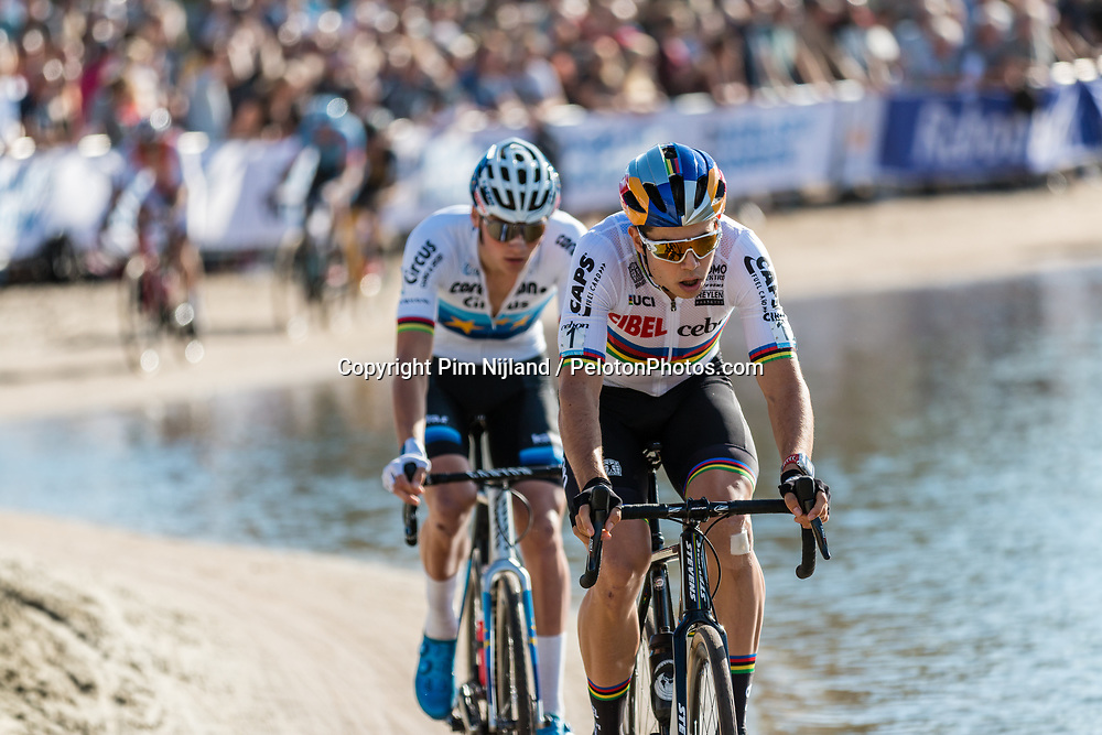 Wout VAN AERT (BEL) and Mathieu VAN DER POEL (NED) during the Men Elite race at the 2018 Telenet Superprestige Cyclo-cross #1 Gieten, UCI Class 1, Gieten, Drenthe, The Netherlands, 14 October 2018. Photo by Pim Nijland / PelotonPhotos.com | All photos usage must carry mandatory copyright credit (Peloton Photos | Pim Nijland)