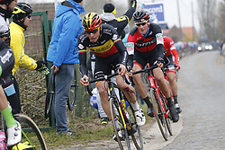 March 23, 2018 - Harelbeke, BELGIUM - Belgian Oliver Naesen of AG2R La Mondiale and Swiss Stefan Kung of BMC Racing Team pictured in action during the 61st edition of the 'E3 Prijs Vlaanderen Harelbeke' cycling race, 206,5 km from and to Harelbeke, Friday 23 March 2018...BELGA PHOTO YUZURU SUNADA (Credit Image: © Yuzuru Sunada/Belga via ZUMA Press)