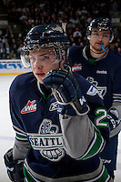 KELOWNA, CANADA - APRIL 5: Roberts Lipsbergs #29 of the Seattle Thunderbirds celebrates a goal against the Kelowna Rockets on April 5, 2014 during Game 2 of the second round of WHL Playoffs at Prospera Place in Kelowna, British Columbia, Canada.   (Photo by Marissa Baecker/Getty Images)  *** Local Caption *** Roberts Lipsbergs;