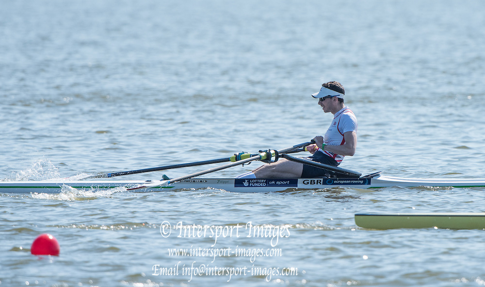 Brandenburg. GERMANY. GBR LM1X. Jamie KIRKWOOD. <br /> 2016 European Rowing Championships at the Regattastrecke Beetzsee<br /> <br /> Saturday  07/05/2016<br /> <br /> [Mandatory Credit; Peter SPURRIER/Intersport-images]