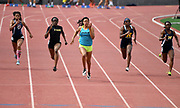 May 19, 2018; Torrance, CA, USA; Ariyonna Augustine of Long Beach Poly (center) wins the Division I girls 100m in 11.75 during the CIF Southern Section Finals  at El Camino College. From left: Kayla Thompson (Lancaster), Ezinne Abba (Etiiwanda), Augustine, Sydney Reid (J.W. North) and Chudney Megehee (Millikan).