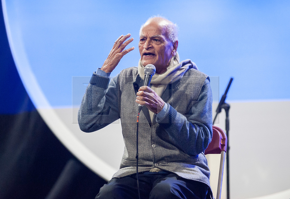 © Licensed to London News Pictures. 16/03/2019. Bristol, UK. SATISH KUMAR speaks at the Extinction Rebellion (XR) Spring Uprising training weekend at Motion nightclub in Bristol, an event in preparation for the International Rebellion on April 15th. XR groups held workshops and trained in non-violent direct action to create disruption and cause change. The event it also to celebrate and strengthen the movement, and get skilled up and organised for the International Rebellion on April 15th. Photo credit: Simon Chapman/LNP