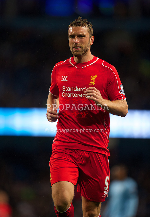 MANCHESTER, ENGLAND - Monday, August 25, 2014: Liverpool's Rickie Lambert in action against Manchester City during the Premier League match at the City of Manchester Stadium. (Pic by David Rawcliffe/Propaganda)