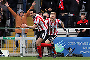 Lincoln City forward Ollie Palmer (8) and celebrates scoring a goal but it was disallowed during the EFL Sky Bet League 2 match between Lincoln City and Exeter City at Sincil Bank, Lincoln, United Kingdom on 30 March 2018. Picture by Mick Atkins.
