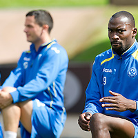 St Johnstone Training....03.09.12<br /> Gregory Tade pictured in training this morning ahead of tomorrow's league opener at Hearts.<br /> Picture by Graeme Hart.<br /> Copyright Perthshire Picture Agency<br /> Tel: 01738 623350  Mobile: 07990 594431
