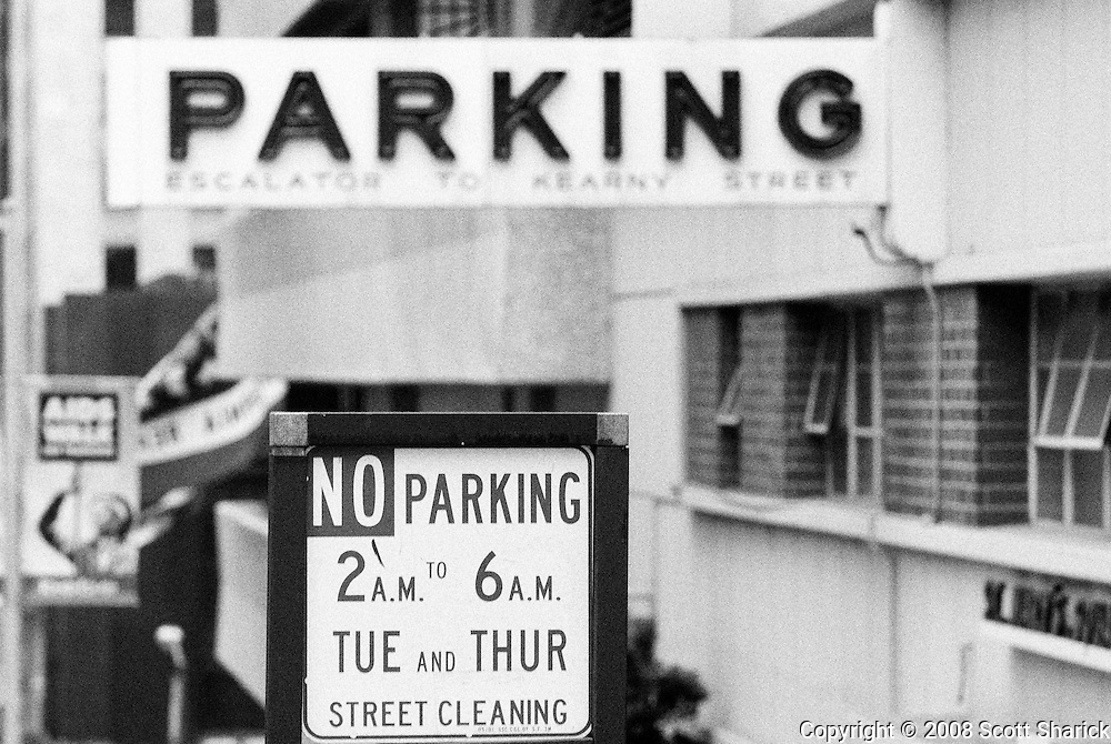 Signs for Parking and No Parking in San Francisco, California.