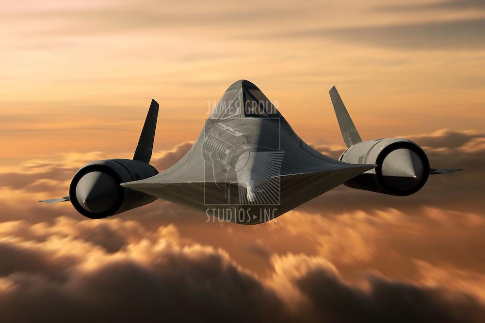 SR-71 supersonic Black Bird flying above cloud level