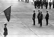 President John F. Kennedy arrives at Dublin Airport. Kennedy inspects the Guard of Honour as he steps from the plane..26.06.1963