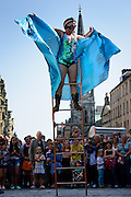 The only female street performer at the Edinburgh Fringe Festival shot for the Press Association