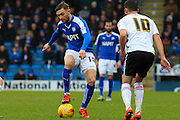 Chesterfield FC midfielder Jay O'Shea on the ball in midfield during the Sky Bet League 1 match between Chesterfield and Crewe Alexandra at the Proact stadium, Chesterfield, England on 20 February 2016. Photo by Aaron Lupton.