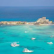 Aerial shot of north beach. Isla Mujeres, Quintana Roo, MX.