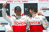 Apr 12, 2003; Long Beach, CA, USA; Pro Category Winner JEREMY McGRATH gives thumbs up on stage with overall race winner PETER RECKELL@ the 27th Annual Pro/Celebrity Race in Long Beach racing Toyota Celica race cars.  Driving 10 laps on a 1.97 mile track along shoreline drive. <br />
