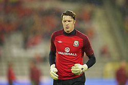 BRUSSELS, BELGIUM - Tuesday, October 15, 2013: Wales' goalkeeper Wayne Hennessey warms-up before the 2014 FIFA World Cup Brazil Qualifying Group A match against Belgium at the Koning Boudewijnstadion. (Pic by David Rawcliffe/Propaganda)