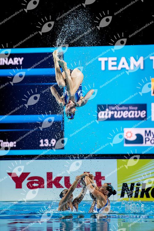 Team Australia AUS<br /> Synchronised swimming, Synchro<br /> Women's Team Technical Preliminary Technical Routine<br /> Day 03 16/07/2017 <br /> XVII FINA World Championships Aquatics<br /> City Park - Varosliget Lake<br /> Budapest Hungary July 14th - 30th 2017 <br /> Photo @ A.Masini/Deepbluemedia/Insidefoto