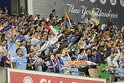 August 20, 2017 - New York, New York, United States - NYC FC fans celebrate victory against New England Revolution during regular MLS game on Yankee stadium NYC FC won 2 - 1  (Credit Image: © Lev Radin/Pacific Press via ZUMA Wire)