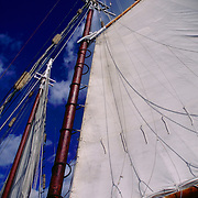 The jib mainsail of gaff-rigged Schooner Appledor out of Camden Maine