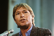 "John Denver testifies at a senate hearing on ""Dirty Rock"" in September 1985...Photograph by Dennis Brack  bb26"