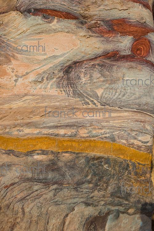 wall inside royal tombs in Nabatean Petra Jordan middle east