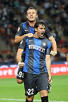 """Esultanza Diego Milito Antonio Cassano Inter<br /> Goal celebration<br /> Milano 30/09/2012 Stadio """"San Siro""""<br /> Football Calcio Serie A 2012/13<br /> Inter v Fiorentina<br /> Foto Insidefoto Paolo Nucci"""