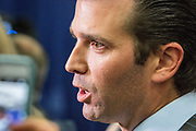Donald Trump Jr., son of the Republican Nominee, talks to media after the debate. The Democrate and Republican nominees for US President, Hillary Rodham Clinton and Donald John Trump, met on Sep. 26th for the first head to head Presidential Debate at the Hofstra University in Long Island.