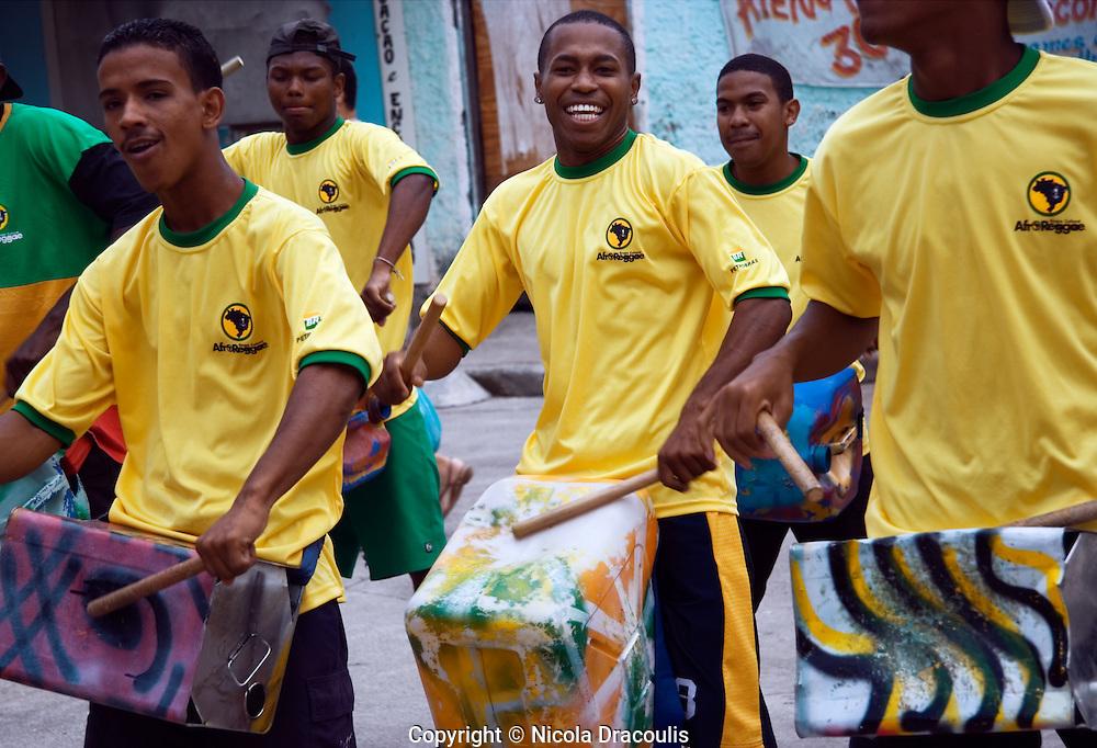 AfroLata performing in the main square, Vigario Geral. Rio de Janeiro, 2006