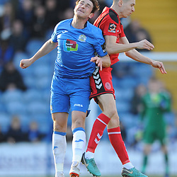 TELFORD COPYRIGHT MIKE SHERIDAN 16/2/2019 - Henry Cowans of AFC Telford battles for the ball with Sam Walker of Stockport during the Vanarama Conference North fixture between Stockport County and AFC Telford United at Edgeley Park