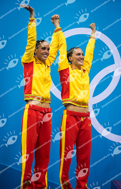 CARBONELL BALLESTERO Ona, FUENTES FACHE Andrea Spain (Silever Medal).Synchronized Swimming duet final podium.London 2012 Olympics - Olimpiadi Londra 2012.day 12 Aug.7.Photo G.Scala/Deepbluemedia.eu/Insidefoto