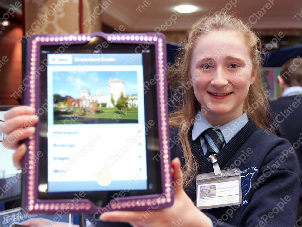 7/03/13 Attending the Ennis Enterprise Awards with her &quot;Irish Tourism App&quot; is Hannah Mooney from St Annes, Killaloe.<br /> Pic: Tony Grehan / Press 22