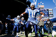 NASHVILLE, TN - DECEMBER 21:   Vince Young #10 of the Tennessee Titans gets pumped up before a game against the Pittsburgh Steelers at LP Field on December 21, 2008 in Nashville, Tennessee.  The Titans defeated the Steelers 34-14.  (Photo by Wesley Hitt/Getty Images) *** Local Caption *** Vince Young Sports photography by Wesley Hitt photography with images from the NFL, NCAA and Arkansas Razorbacks.  Hitt photography in based in Fayetteville, Arkansas where he shoots Commercial Photography, Editorial Photography, Advertising Photography, Stock Photography and People Photography