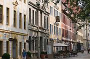 Dresden Neustadt, Hauptstrasse, Barock- und Rokoko-Buergerhausfassaden, Dresden, Sachsen, Deutschland.|.Dresden, Germany,  Dresden Neustadt, mainstreet, baroque buildings